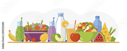Flat design banner. Health food concept isolated on white background. Vector illustration for web design, marketing, graphic design.