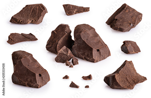 Pieces of dark chocolate isolated on white background.