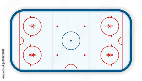 Photo detailed illustration of a icehockey rink, field, court, eps10 vector