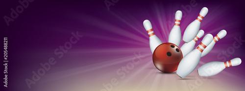 Foto Purple Bowling Pin Deck Red Ball Strike Banner Pins