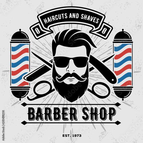 Fotografia Barbershop Logo with barber pole in vintage style