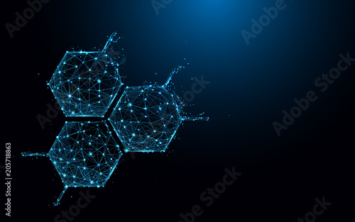 Molecule structure icon form lines and triangles, point connecting network on blue background Fototapeta