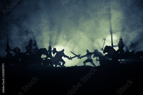 Photo Medieval battle scene with cavalry and infantry
