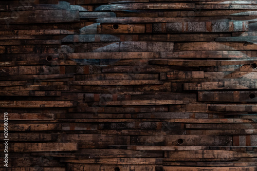 Canvas Print Bourbon Barrel Staves on Wall Texture