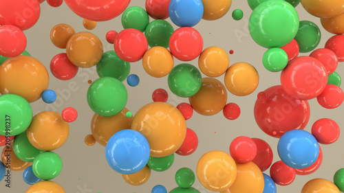 Colorful spheres of random size on white background