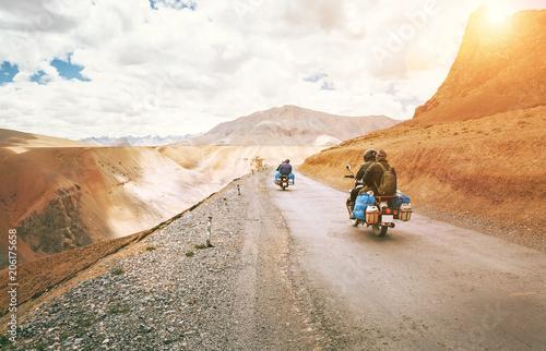 Fototapeta Motorcycle travelers ride in indian Himalaya roads
