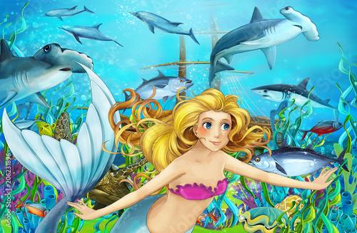 cartoon scene with mermaid diving near sunken ship - illustration for children