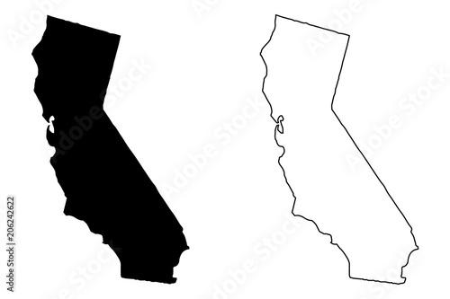 Vászonkép California map vector illustration, scribble sketch California map