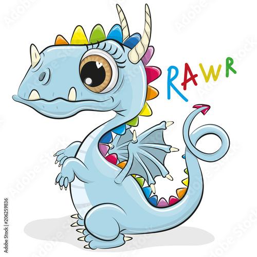 Fototapeta Cute Cartoon Dragon on a white background