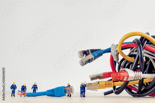 Tangled bunch of network cables
