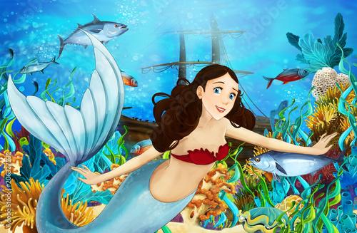 cartoon scene with mermaid diving near the sunken ship - illustration for children