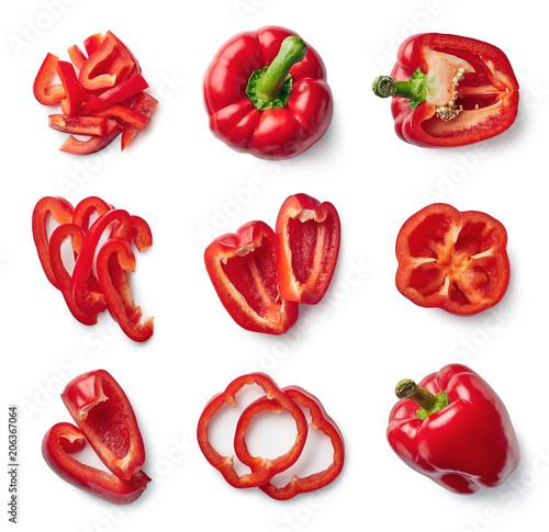 Fotografija Set of fresh whole and sliced sweet pepper