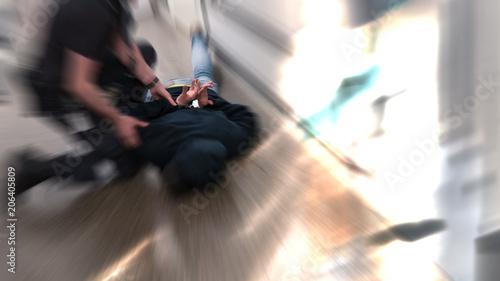 Slika na platnu Prison guard fight inmate resisting arrest in prison after commiting crime