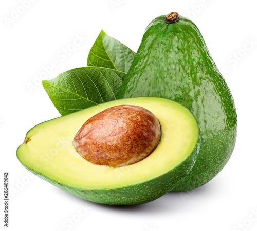 Avocado isolated on white Fotobehang