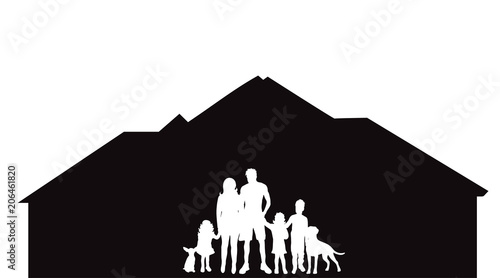 Fotografia Vector silhouette of house with family on white background.