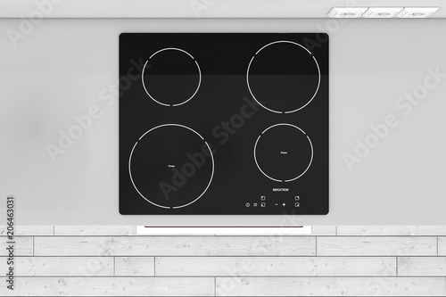 Modern Kitchen with Induction Cooktop Stove top view. 3d Rendering