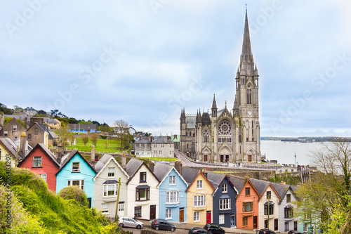 Canvas Print Cathedral  and colored houses in Cobh, Ireland
