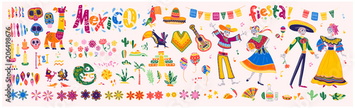 Big vector set of mexico elements, skeleton characters, animals in flat hand drawn style isolated on white background. Icons for fiesta, celebration, national patterns, decoration, traditional food.