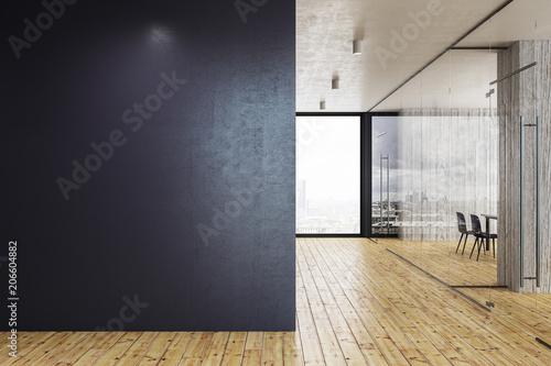 Canvas Print Modern glass corridor with copyspace