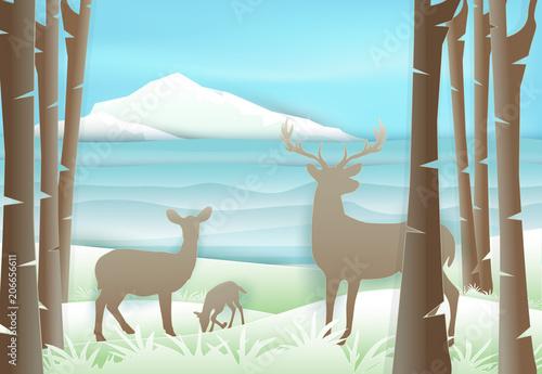 Jelenia rodzinna pozycja w lesie blisko jeziora i niebieskiego nieba. Papierowa sztuka, papierowa rzemiosło ilustracja
