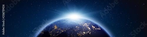 Fototapeta premium Planeta Ziemia wschód słońca panorama. Renderowania 3d