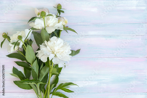 Peonies on a wooden background. Texture. Photo for social networks
