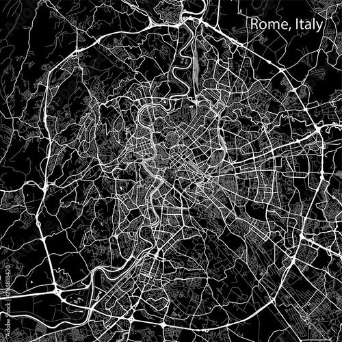 Fototapeta Area map of Rome, Italy