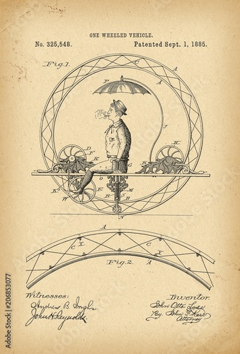 1885 Patent Velocipede Bicycle Unicycle history invention Fototapeta