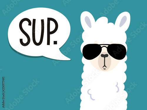 Canvas Print Llama poster with inscription sup means