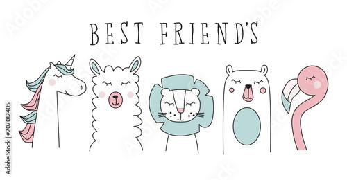 Canvas Print unicorn, llama, lion, bear and flamingo, animal cartoon vector set illustration