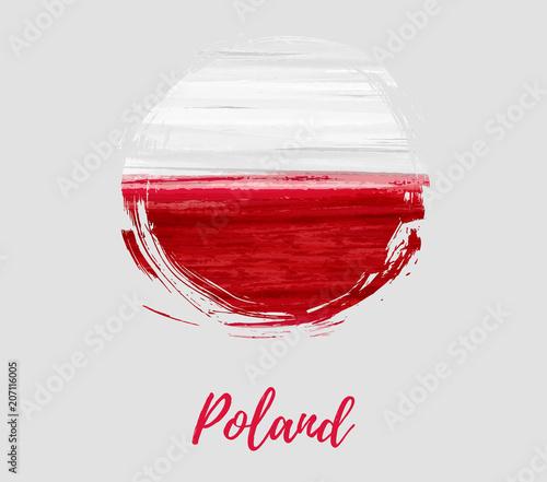 Photo Poland flag in grunge round shape