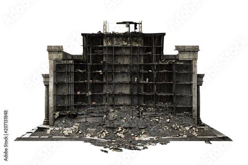 Fotografia building ruins isolated on white