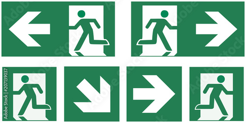 emergency exit sign set Fototapeta
