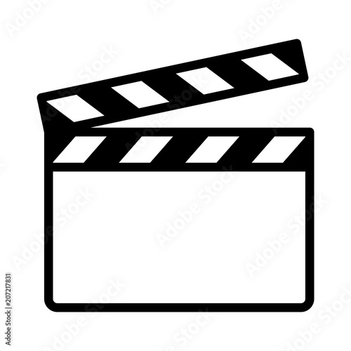 Obraz na płótnie Movie clapperboard or film clapboard line art vector icon for video apps and web