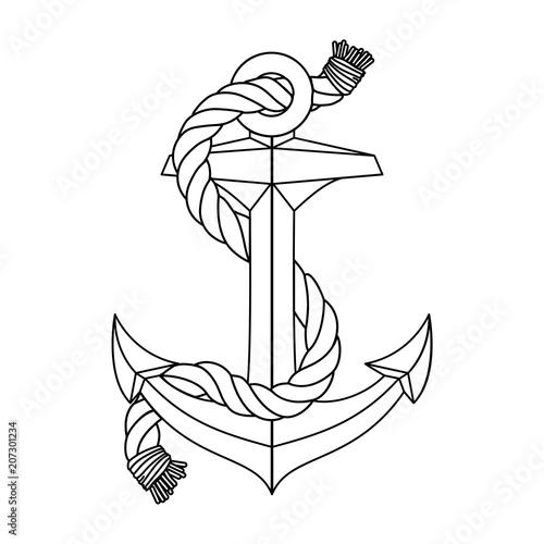 Fototapeta vector vintage sea anchor rope line icon