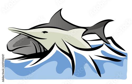 Shark and dolphin Fototapet