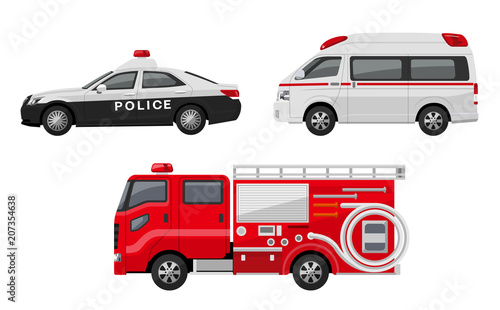 Fotografia パトカー、救急車、消防車、セット