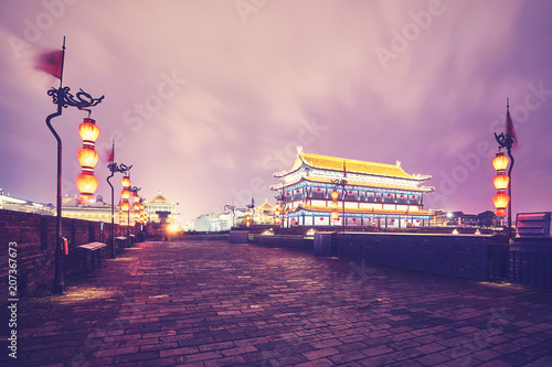 Xian city wall at night, color toned picture, China.