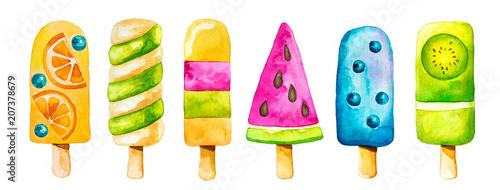 Akwarela clipartów kolorowy lody