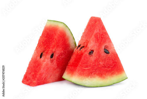 two sliced fresh watermelon isolated on white background