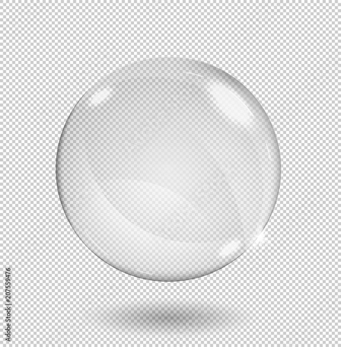 Wallpaper Mural Big white transparent glass sphere with glares and highlights