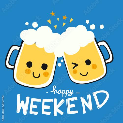 Obraz na płótnie Happy weekend beer smile cartoon doodle vector illustration