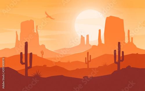 Slika na platnu Daytime cartoon flat style desert landscape.
