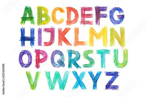 Tablou Canvas Colored pencils alphabet font type handwritten hand draw abc letters
