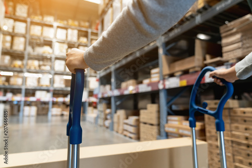 Fotografia Asian female worker pulling pallet truck or pushing a picking cart by two hands in storage warehouse with background of box on shelf structure