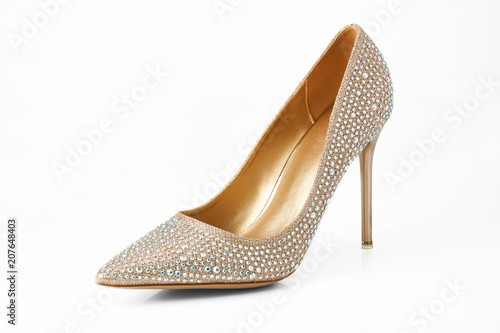 Obraz na plátně Luxury high heels isolated on a white background and with clipping path for design