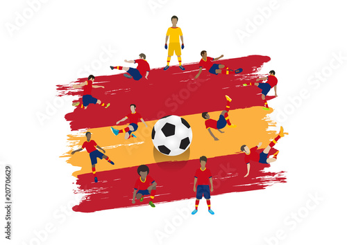 Wallpaper Mural Vector soccer player team with Spain flag background