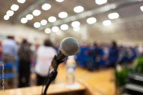 Vászonkép Auditorium Microphone closeup