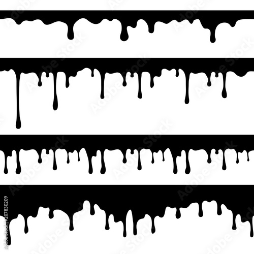 Slika na platnu Paint dripping, black liquid or melted chocolate drips seamless vector currents