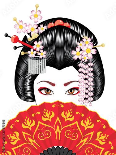 Valokuvatapetti Geisha with Fan